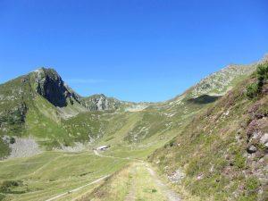 Blick auf Gartalm Hütte in den Bergen im Zillertal