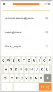 Babbel italienisch Grammatikübung al all' alla