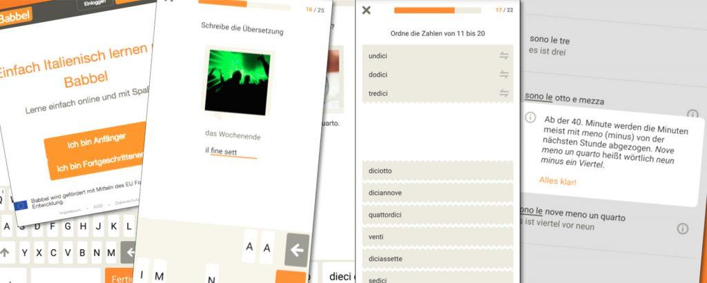 Babbel Screenshots Italienisch Collage