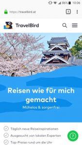 Travelbird Screenshot Reiseschnäppchen-Plattform, Best of Reiseapps