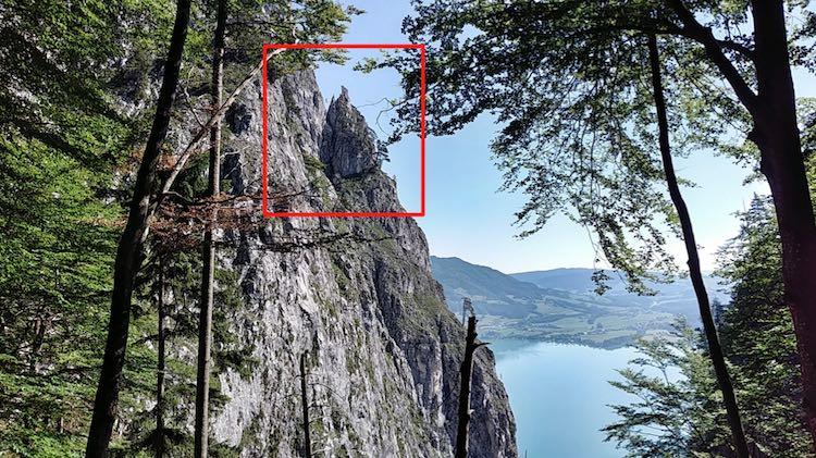 Die Hängebrücke und die C-Stelle des Drachenwand-Klettersteigs vom Wanderweg aus gesehen, Nein sagen, Wanderhunger