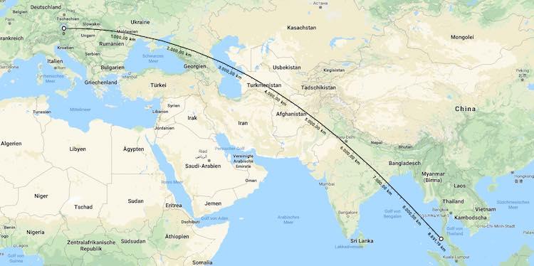 Google Maps mit Entfernungsmessung zwischen Österreich und Thailand, Wanderhunger, Auswandern nach Thailand