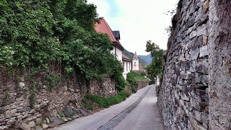 Kleine Straßen führen über die Weinberge in Spitz an der Donau. Wanderhunger