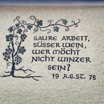 Saure Arbeit, süßer Wein, wer möcht nicht Winzer sein? Zitat, Spruch, Häuserwand. Wanderhunger, Spitz an der Donau