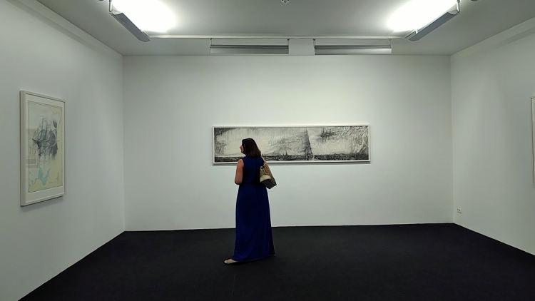 Ausstellung von Skizzen des Künstlers Alexander Ponomarev am Linzer Höhenrausch 2018. Wanderhunger