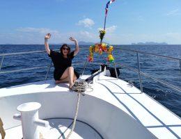 Auf dem Tauchboot Mermaid von All4Diving auf dem Weg heim von Koh Phi Phi. Rückblick. Wanderhunger