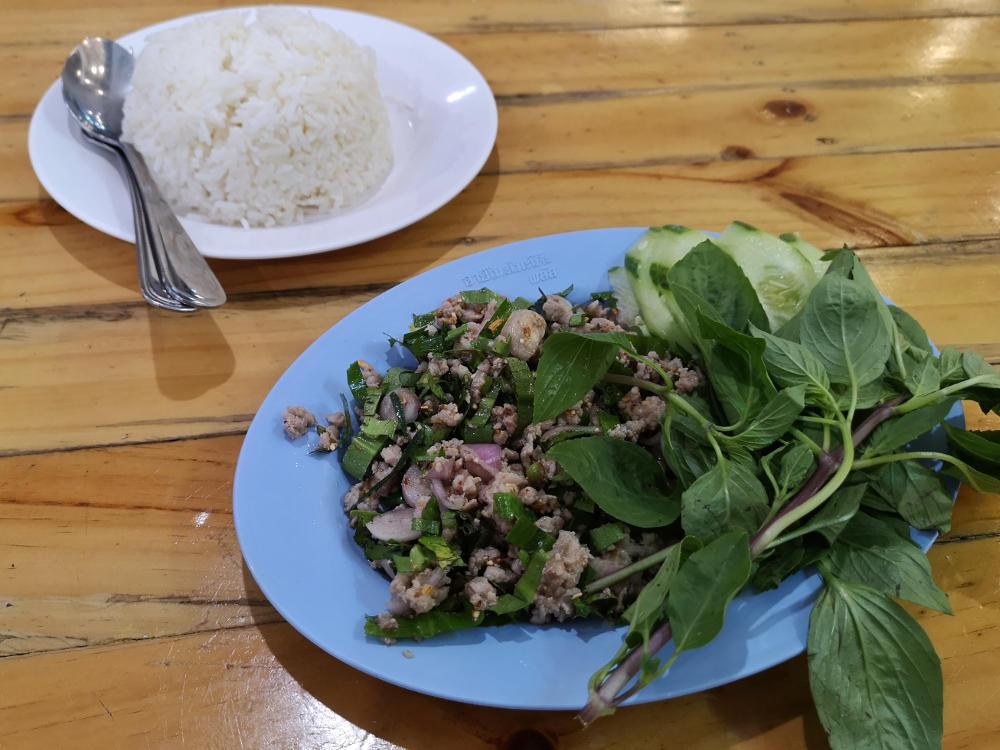 Grilled Pork Salad, ein typisch thailändisches Gericht mit viel Thaibasilikum. Wanderhunger