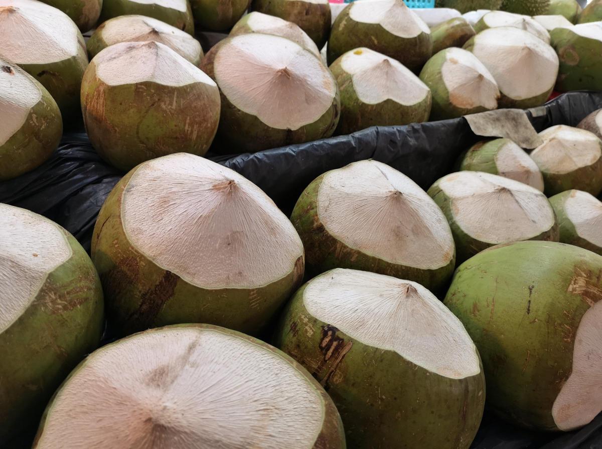 Die unreife Kokosnuss wird in Thailand oben aufgeschlagen (gekappt) und dann mit einem Strohhalm ausgeschlürft. Zudem kann man das noch weiche Fruchtfleisch aus der Frucht kratzen. Wanderhunger