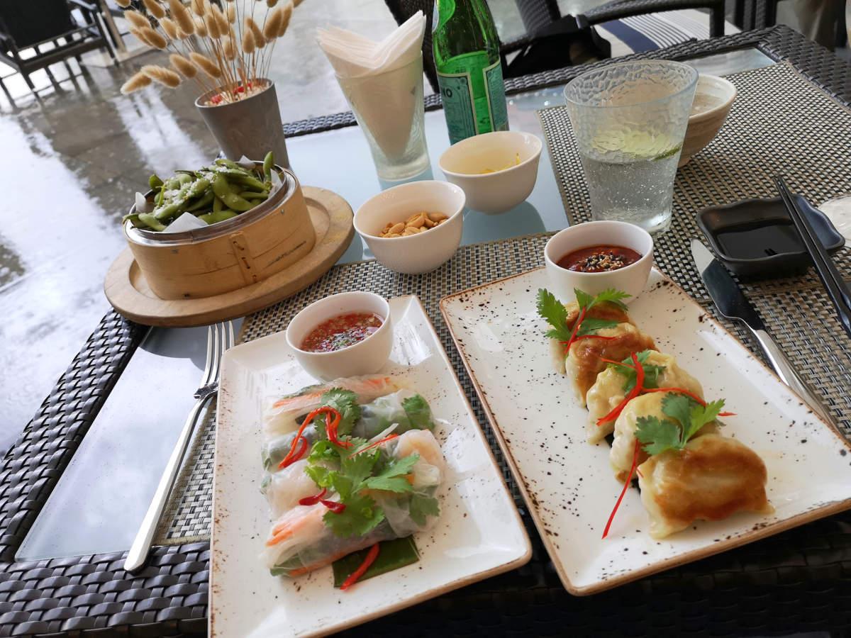 Die hervorragenden Appetizer im Restaurant Aqua im Luxusuhotel Mandarin Oriental in Kuala Lumpur (Edamame, Gyoza, Vietnamese Paper Rolls). Wanderhunger