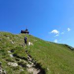 Zillertal Bergflanke mit Wanderer und Hund und Blick auf Kapelle