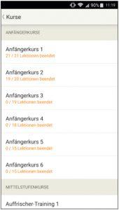 Screenshot Babbel Italienisch Uebersicht Kategorien
