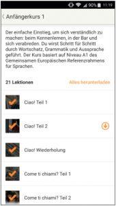Screenshot von Babbel Italienisch Uebersicht Lektionen