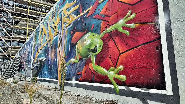 Street Art / Graffiti / Murals / Paste Ups in Berlin. Elsenbrücke. Frosch. Wanderhunger